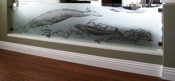 Wall divider with grey whale in etched glass