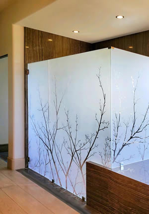 Etched Glass Shower Enclosure with Tree Motif by Jay Hoyt Curtis